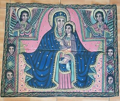 Antique Ethiopian Painting on Canvas Virgin Mary and Child Christ Hand Painted