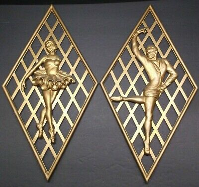 VERMAY Rare vintage wall hangings pair of female & male ballerinas gold color