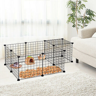 DIY Pet Playpen Metal Wire Fence 12-Panel Guinea Pig Small Animals Cage Black