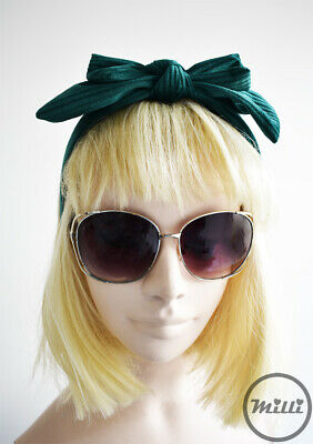 Green Fascinator Velvet Bow Headband Stripe Headpiece Wedding Races