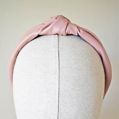 Pink Fascinator Faux Leather Turban Headband Races Wedding Headpiece Style 2