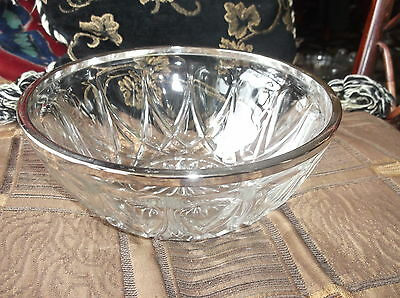 """Vintage Good Size Glass Bowl With Silver Plated Rim Pretty Design 8"""""""