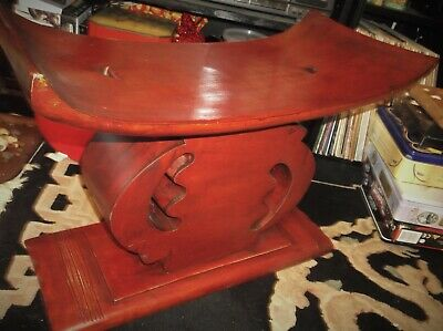 Solid Carved Stained Wooden Oriental Design Curved Top Stool Very Heavy