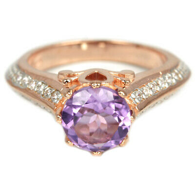 Natural Aaa Purple Amethyst Round & White Cz Sterling 925 Silver Ring Size 6.75
