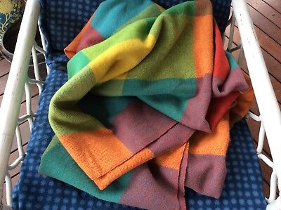 Authentic Vintage Antique PURE WOOL Brightly Coloured Checked Blanket