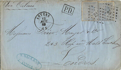 BELGIUM : 1869 entire  from Anvers to London