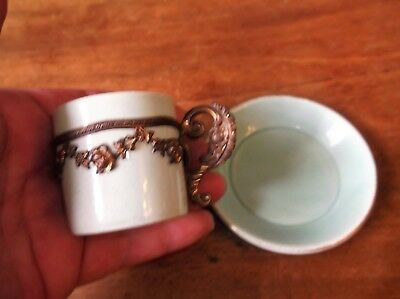 Antique Unusual Mini Cup & Saucer Germany Celadon Green Applied Gilt Metal Band
