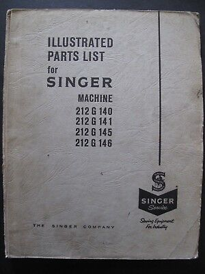 ILLUSTRATED PARTS LIST for SINGER 212G (1960's)