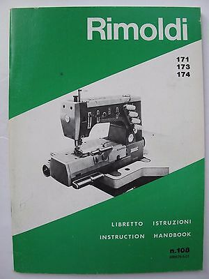 """Instructions for using RIMOLDI SEWING MACHINES """"CYLINDER-BED"""" CLASS 171, 173...."""