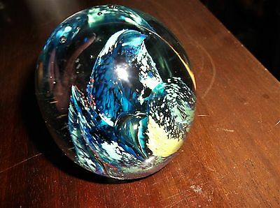 Heavy Dome Glass Paperweight Large Controlled Bubble Cobalt Green Ochre Clear