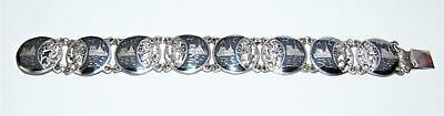 Stunning Vintage Antique Sterling Silver Niello Ware Bracelet Siam Thai Silver !