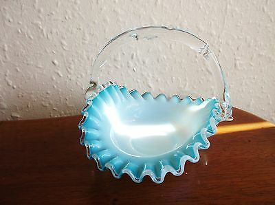 Vintage Art Glass Basket Clear White With Aqua Rim Frilled Fluted & Twig Handle