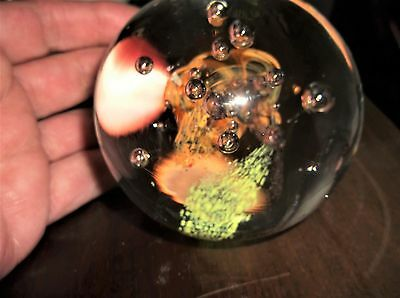 Heavy Glass Paperweight Controlled Bubbles Glass Magic Czech Hand Made