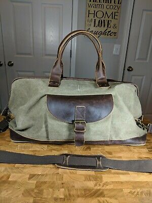 """Genuine Leather And Canvas Duffle Bag With Saddle Pocket Color Tan Brown 23"""""""