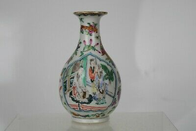 Beautiful Antique Chinese Hand-painted Famille Vert Vase
