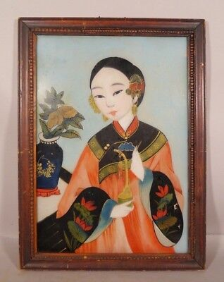 ANTIQUE Reverse Painting on Glass Chinese Japanese Woman GEISHA GIRL Holds PIPE