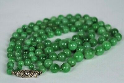 Fine Antique Chinese Double String Jadeite Beaded Necklace Diamond Torpedo Catch