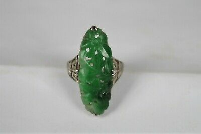 Fine Antique Chinese Carved Hardstone/Jadeite White Metal Ring
