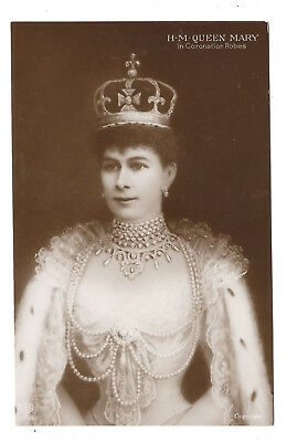 Vintage RP sepia postcard H.M Queen Mary in Coronation Robes. E.A.S. Unposted