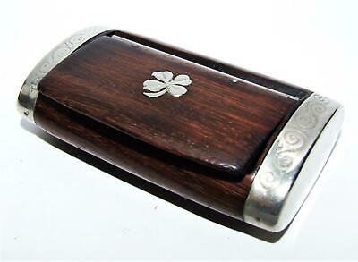 VINTAGE ANTIQUE WOOD Snuff Pill Box Rosewood Silver Or Plate