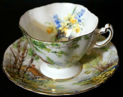 Hammersley Lorna Doone Cup and Saucer Gold Trim Cottage scene Mint Condition