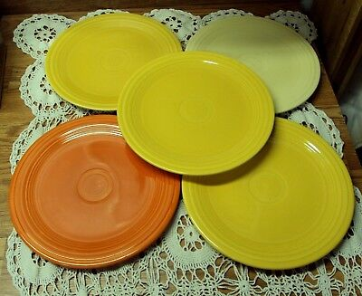 VTG LOT/5 HOMER Laughlin FIESTA Dinnerware ~ DINNER PLATES ~ 9 5