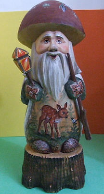 "Russian Handcarved & Handpainted GNOME STANDING ON WOOD STUMP ""DEAR IN FOREST"""