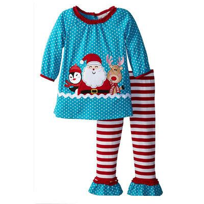 2PCS Toddler Baby Girls Christmas Outfits tops+stripe pants Kids Clothes set