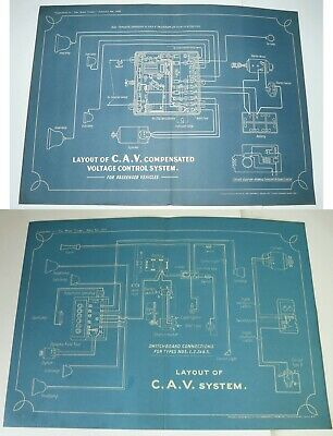 wiring diagrams x2 vintage layout of c a v  systems x2 circa 1925 & 1928  -  eur 11,10 | picclick fr