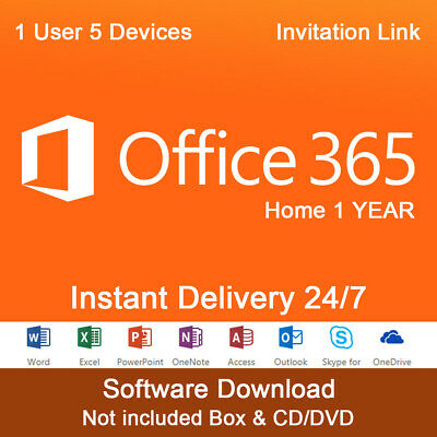 Microsoft Office 365 Home 1 Year Subscription for 5 PC DEVICE or MAC - LINK