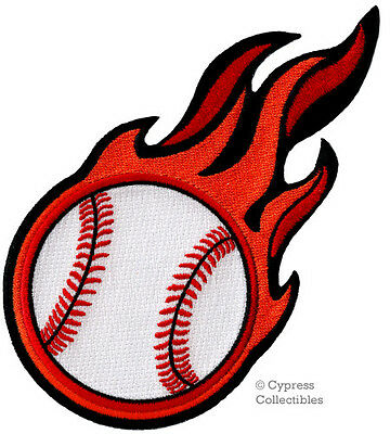 Flaming Baseball Embroidered Iron-On Patch Applique Sports Flames Fastball Heat
