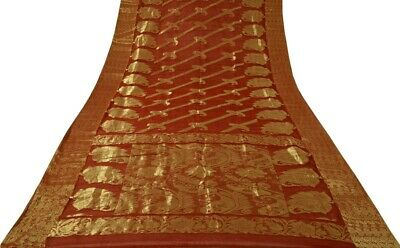 Vintage Indian Sari 100% Pure Silk Zari Woven Sheer Fabric Craft Saree Rust