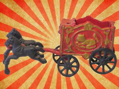 Vintage  Cast Iron Horse Drawn Circus Wagon Carriage Antique Toy