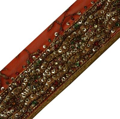 Linens & Textiles (pre-1930) Modest Sanskriti Vintage Saffron Sari Border Hand Embroidered Indian Craft Trim Lace