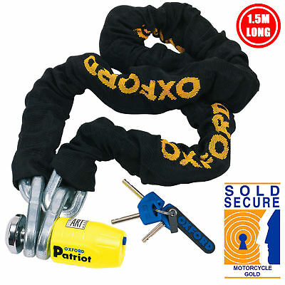 Oxford Patriot Motorcycle Sold Secure Security Brake Disc Lock and 1.5M Chain