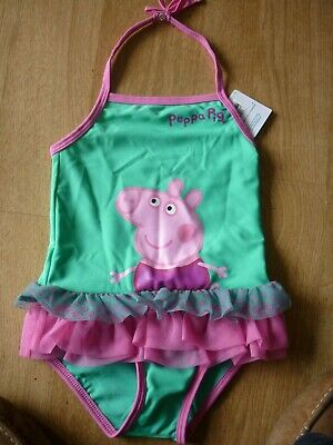 Bnwt M&s Peppa Pig Frilly Tutu Swimsuit 18/24 Months 90Cm Green Mix