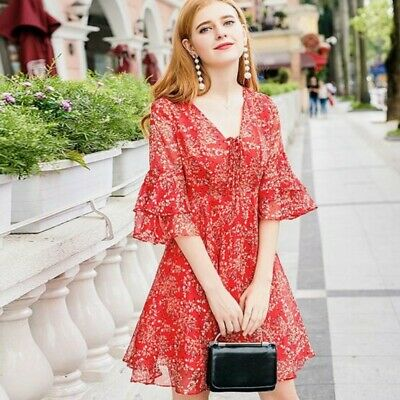 French Style Lady Chiffon Half Sleeve Floral Printed Fairy Mid Long A-line Dress