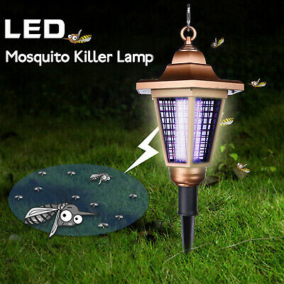 Solar Powered Outdoor Anti Mosquito Fly Bug Insect Zapper Killer Trap Lamp Light