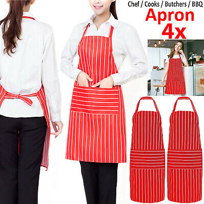 4X Plain Apron With Front Pocket For Chefs Butchers Kitchen Cooking Craft Baking