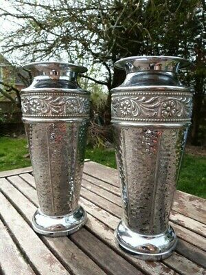 Lovely Pair Of Vintage Art Deco Hammered Chrome Vases By Beldray.