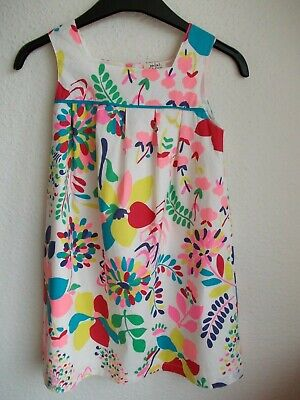 Girls Mini Boden 100% cotton cream/multi floral pattern fully lined dress 7-8 yr