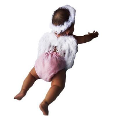Newborn Baby Photography Props Feather Lace Headband+Angel Wings Photo Prop DB