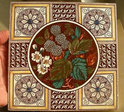 Victorian hand colour transfer printed glazed antique tile blackberries flowers