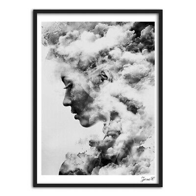 Modern Girl Portrait Smoky Canvas Art Poster Painting Wall Picture Home