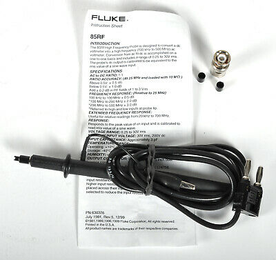 Fluke 85RF High Frequency Probe 100kHz to 500Mhz, 200 VDC, 0.25 - 30Vms