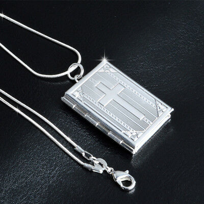 Chic Cross Bible Shape Hand Engraved Opening Pendant Locket Necklaces DB