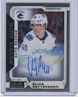 2018-19 O-Pee-Chee Opc Platinum Rc On Card Auto Elias Pettersson # R-Ep Canucks