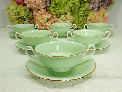 6 Minton English Porcelain Cream Soup Cups & Saucers Shell Pastel Green Gold