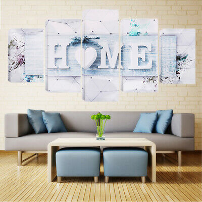 5 Panels White Love HOME Wall Art Print Pictures Canvas Wall Art Painting