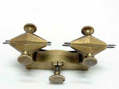 Antique WATCHMAKERS / HOROLOGISTS DEPTHING TOOL BRASS w/ STEEL POINTS 2 A/F